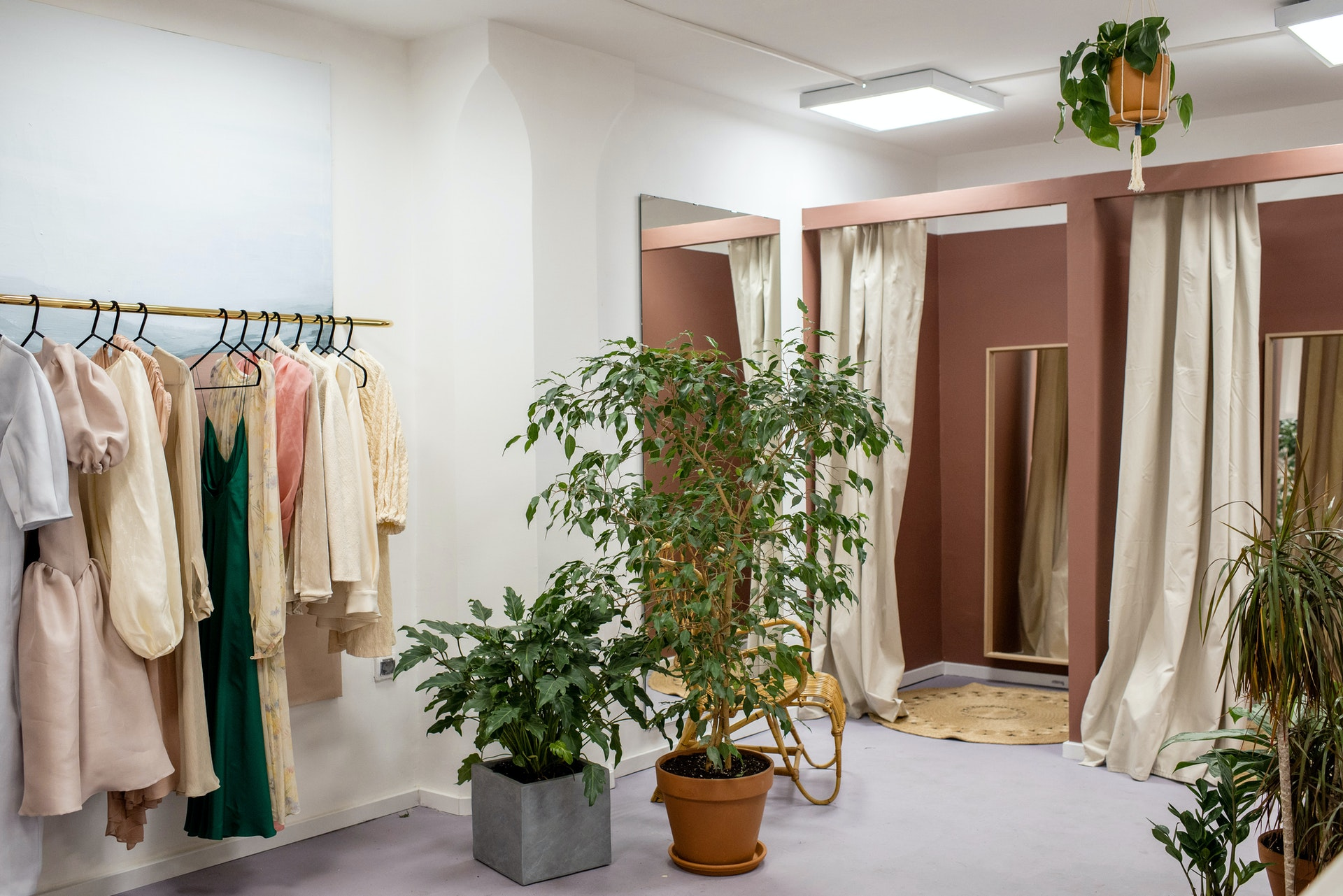 interior of clothing shop with dressing rooms and plants