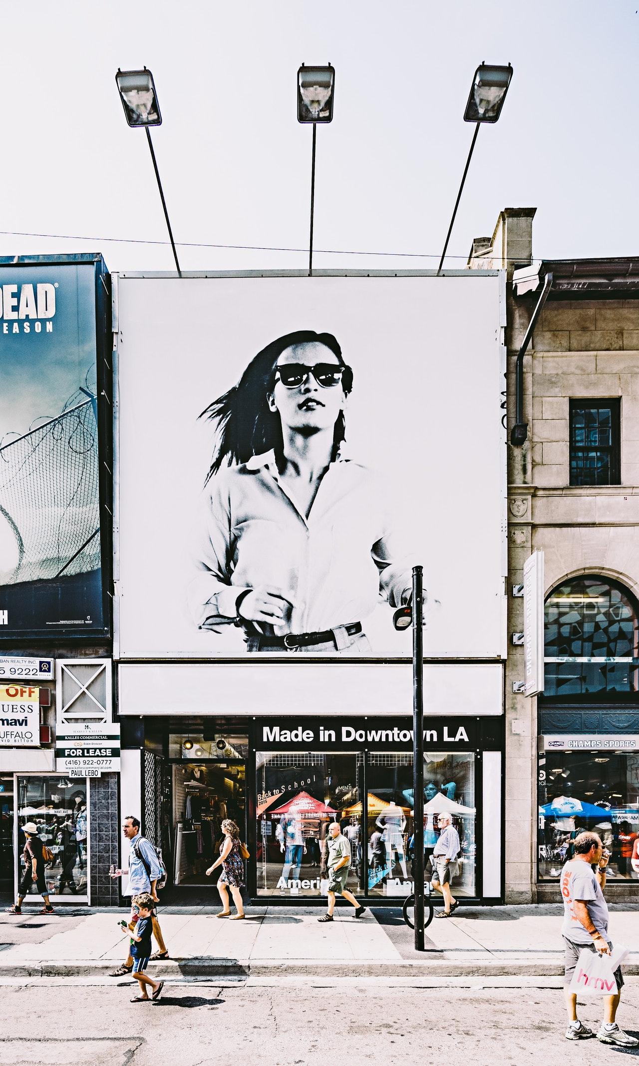 large billboard in busy street