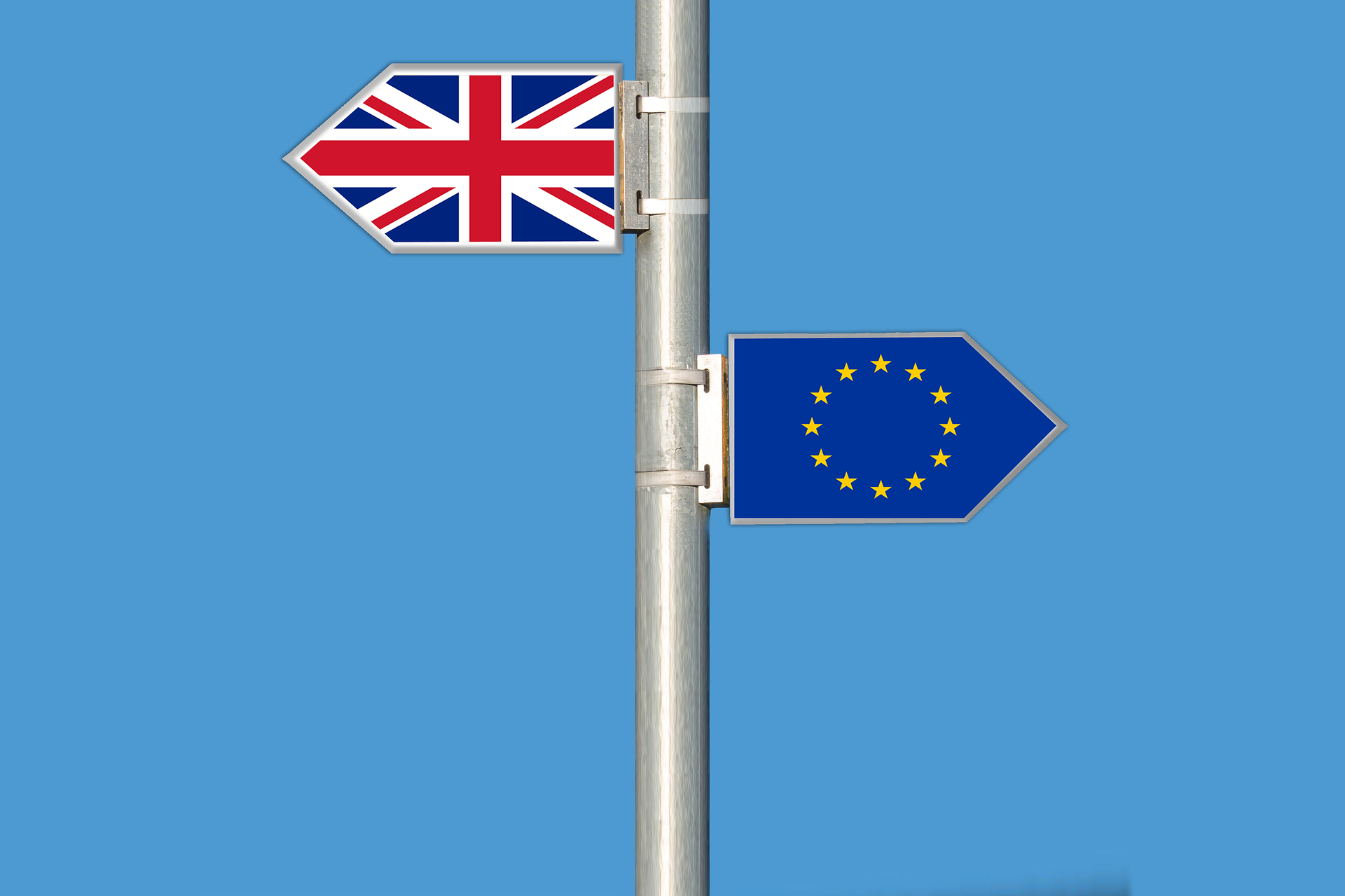 A signpost with union jack sign and EU flag sign.